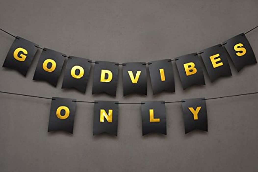Boston Creative company Good Vibes Only Banner - Bedroom Decor - Party Banner - Birthday Sign - Wedding Banner - Black and Gold Foiled Card Stock-USA Brand!! #Card_BAN_26