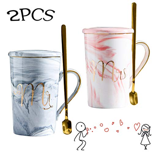 Amycute 2 pcs Taza de Cerámica Mr y Mrs, 400 ml Tazas De Desayuno con Tapa Y Cuchara para la Novia y el Novio Boda Creativo
