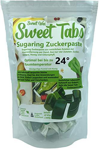 Sweet Tabs 24° Grün Brazilian Wax. Einfach auspacken, kneten und anwenden. Enthaarungswachs aus Sugaring Zuckerpaste zur Haarentfernung per Hand. Keine Vliesstreifen oder Erwärmen nötig. 8 * 45g =360g
