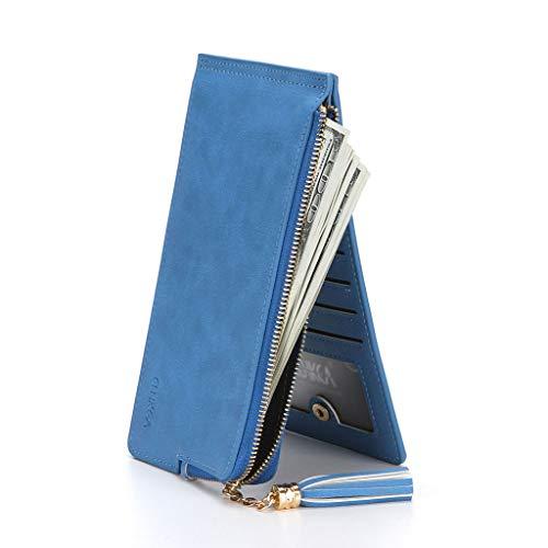 ZSP dames slanke portemonnee rits portemonnee met make-up spiegel RFID blokkeren portemonnee credit card houder
