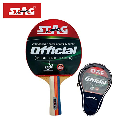 Stag Official Table Tennis Racquet( Multi- Colour, 180 grams, Intermediate )