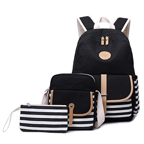 Maysurban 3 Teilig Schulranzen Set Laptop-Rucksack-Set Unisex Gestreifte Daypack aus Canvas + Schultertasche + Mäppchen Schwarz