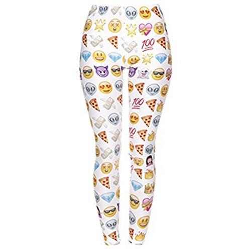 Tamskyt Damen Leggings Digital bedruckt – verschiedene Designs & Farben – Super Soft Spandex – 8/10/12 Stretch Einheitsgröße Gr. One size , Emoji Weiß