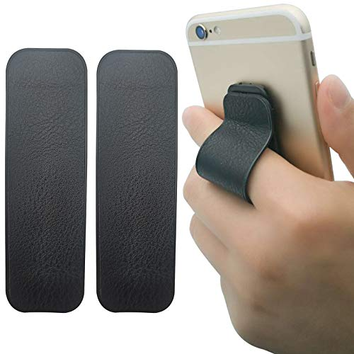 Finger Strap Phone Holder, [2 Packs] Cell Phone Grip Stand | Phone Handle for iPhone Android Smartphone Small Tablet Car Vent Holder Mobile Device (PU - Black)