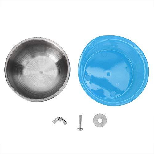 HEEPDD Vogelkooi Vogelvoer, Verwijderbare Roestvrij Staal Voedsel Water Voeding Bowls Vaste Voedselbak Container voor Huisdieren Vogels Papegaaien Konijn Guinea Varken Chinchilla, Blauw