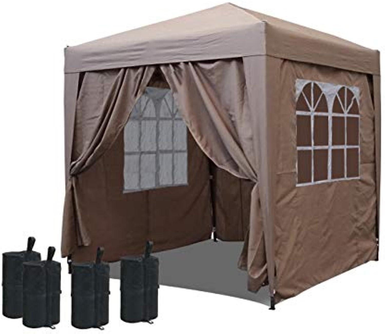 QUICK STAR Pop-Up-Pavillon 2 x 2 m Sand mit Fubeschwerer und mit4 Easy-Klett Seitenwnden mit 2 Reiverschlüssen.