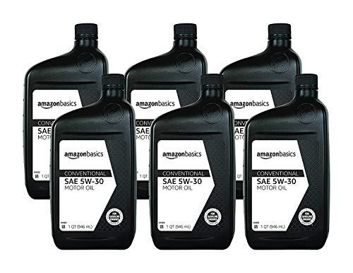 AmazonBasics Conventional Motor Oil - 5W-30 - 1 Quart - 6 Pack
