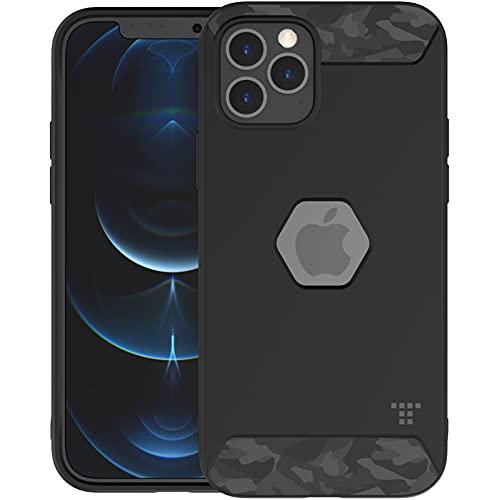 TACTISM iPhone 12 シリーズ ケース 耐衝撃 米軍MIL規格 ストラップホール 滑り防止 ミリタリーデザイン ALPHA タクティカルブラック (iPhone 12 / 12 Pro, Tactical Black)