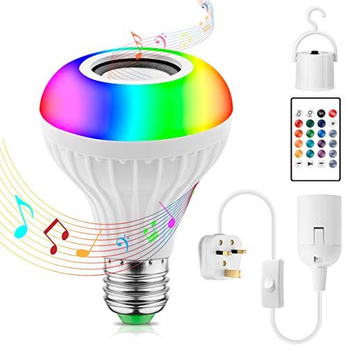 LED RGB Glühbirne mit Bluetooth Musik Lautsprecher, JOLVVN Smart Dimmbares Stimmungslicht mit Fernbedienung für Home Stage Bar Party Festival Dekorationen