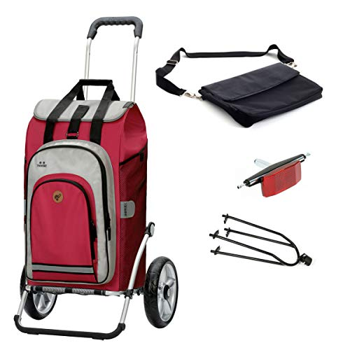 Andersen Einkaufstrolley Royal mit Fahrrad-Anhängerkupplung und 62 Liter Einkaufstasche Hydro 2.0 rot mit Kühlfach, extra Laptoptasche
