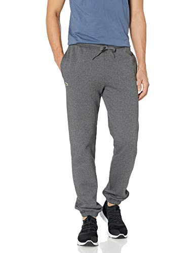 Lacoste Men's Tennis Training Sport Fleece Pant with Elastic Leg Opening, Pitch Gray, 4