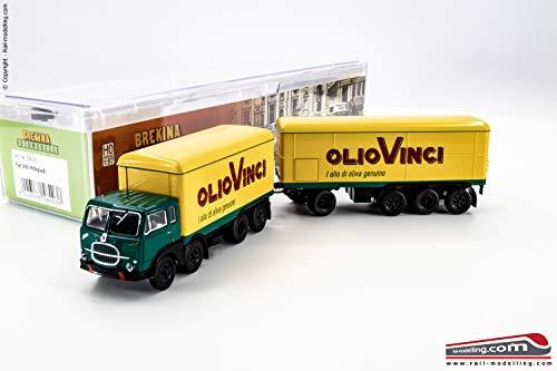 BREKINA 58423 - H0 1:87 - Camion con rimorchio isotermico Fiat 690 Millepiedi baffo'OLIO VINCI'