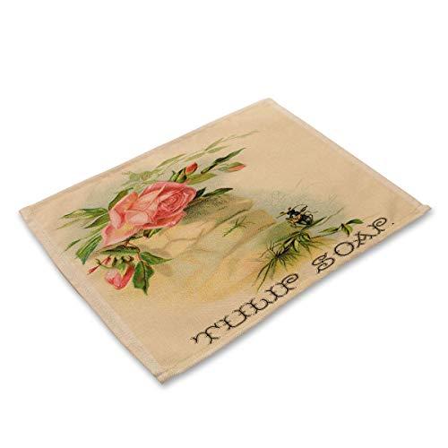 Tafelset, groot, katoen, linnen, tafelkleden, set van 6 – tafel met bloem, plant, wasbaar, bedrukt E