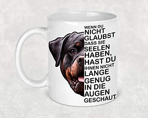 Tasse Kaffeetasse Kaffeebecher Becher Kaffee Hund mit Rottweiler Hund Lustiger Spruch