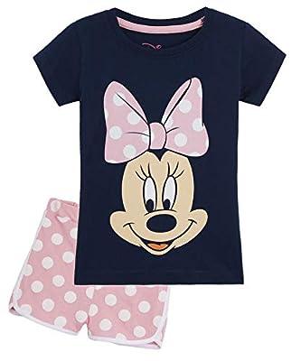 Disney Minnie Mouse Pijama Niña Verano, Ropa de Niña Vacaciones Algodon 100%, Conjuntos de 2 Piezas Top y Pantalon Corto Niña, Regalos Originales para Niñas Edad 1-8 Años (3-4 años)