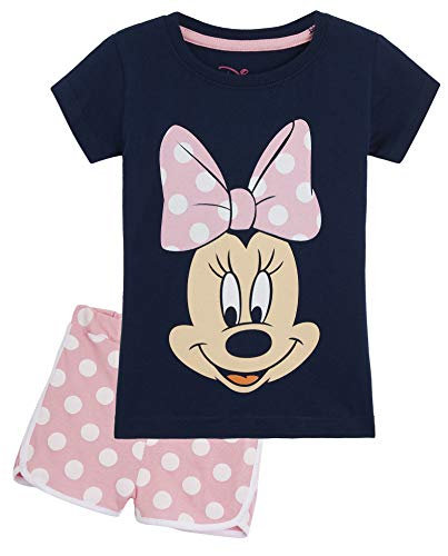 Disney Minnie Mouse Schlafanzug Mädchen, Zweiteiler Baumwolle Pyjama Set für Kinder, Sommer Schlafanzug Kurz, 3 Coole Design, Geschenke für Kinder (3-4 Jahre)