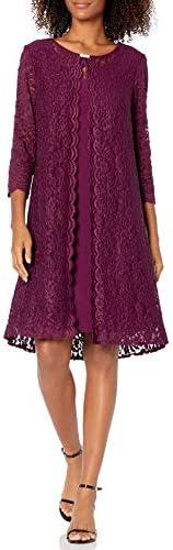 Alex Evenings Women s Midi Scoop Neck Shift Dress with Jacket Petite and Regular Plum Glitter product image