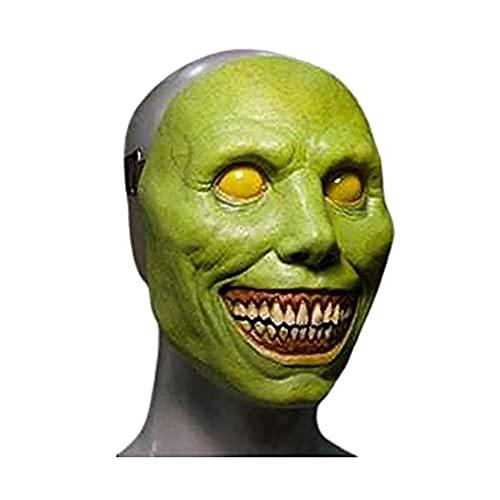 KJSDHAE Máscara de demonio sonriente, máscara de Halloween espeluznante, máscara de terror – cara blanca sonrisa Cos exorcista, disfraz de Halloween, prop-verde_23 cm