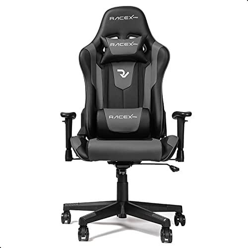 RIGHT TECHNOLOGY Gaming Stuhl Bürostuhl Gamer Ergonomischer Stuhl Einstellbare Armlehne Einteiliger Stahlrahmen Einstellbarer Neigungswinkel Schwarz/Grau