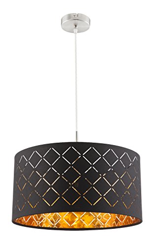 Hängelampe Stoff-Lampenschirm 1-Flammig Hängeleuchte Pendelleuchte Schlafzimmerlampe Schwarz Gold (Pendellampe, Wohnzimmerlampe, 40 cm, Höhe 140 cm)
