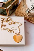 Collana PARIDE - collana in argento 925 placcato oro 18k - collana con perle di fiume naturali e ciondolo cuore gigante-...