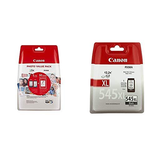 Canon PG-545XL+CL-546XL Valuepack de tinta original BK XL+Tricolor XL (GP-501 50 sheets) para Impresora + PG-545XL Cartucho de tinta original Negro XL para Impresora de Inyeccion