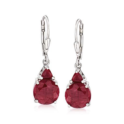 Ross-Simons 6.50 ct. t.w. Ruby Drop Earrings in Sterling Silver