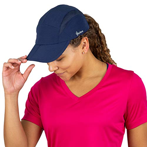 TrailHeads Folding Bill Running Hat for Women | Summer Cap with UV Protection - Navy