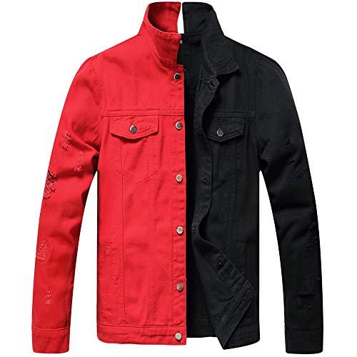 LZLER Jean Jacket for Men,Separable Left&Right Ripped Slim Fit Mens Denim Jacket(Black-Red, Large)