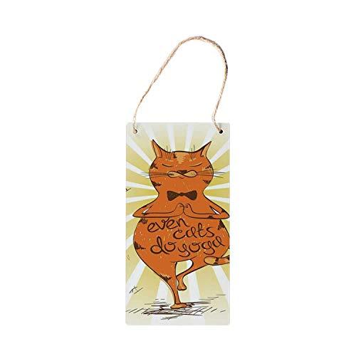 SIGNCHAT - Señales de Madera para Colgar en el Yoga, diseño de Gato con una Frase motivadora de Asana y relajación, 12,7 x 25,4 cm