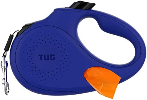 TUG Oval 360 Tangle Free Retractable Dog Leash with Integrated Waste Bag Dispenser Medium Blue product image