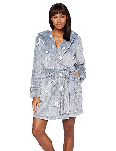 Iris & Lilly Pantalón Corto de Pijama de Felpa Mujer, Azul (Navy Star), M, Label: M