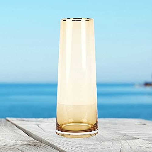 LXLAMP Jarrón De Vidrio De Oro De 12 * 9 * 32 Cm Florero Cristal Alto, Jarrones Cristal Grandes Jarron Tono Dorado