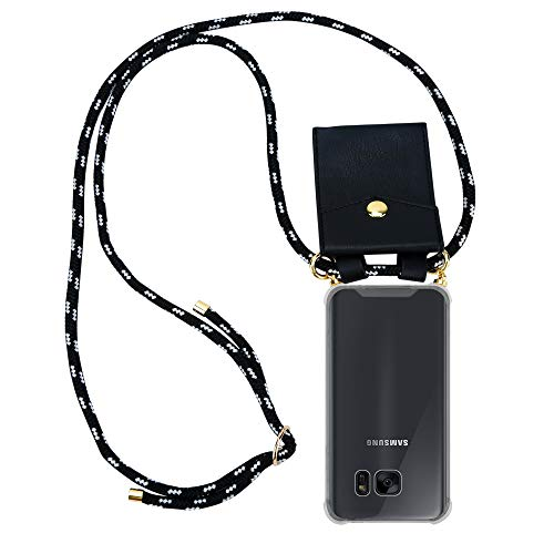 Cadorabo Funda con Cuerda para Samsung Galaxy S7 Edge en Negro Plata – Cubierta Protección Collar para Colgar di TPU Silicona Transparente con Anillos OROS, Cordon y Estuche Removible