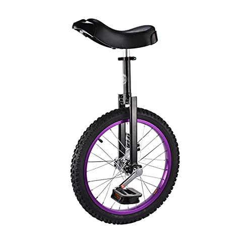 JLXJ 18'(46cm) Wheel Unicycle for Adults/big Kid, Outdoor Boy Girls Beginners Unicycles, Aluminum Alloy Rim and Manganese Steel (Color : Purple)