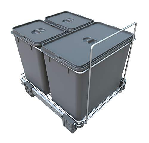 FELOMODE ECOFIL PF02B - Cubo de basura para recogida selectiva de residuos, base extraíble, (18 l y 2 x 8 l, 34 x 46 x 31 cm)