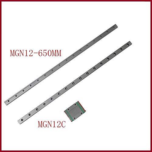 sin 1set de piezas de impresora 3d 12 mm guía lineal MGN12 650 mm vía carril lineal MGN12H o MGNH12C largo de transporte lineal para eje CNC X Y Z, MGN12C 650mm