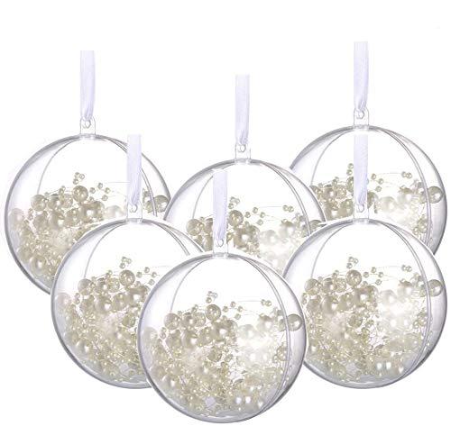 Amajoy 20PCS Bola de Navidad con Cinta Blanca 8CM Bolas de Adornos de Bricolaje Bolas rellenables Transparentes Decoraciones navideñas Fiesta de Bodas Decoración para el hogar Baño Bomba