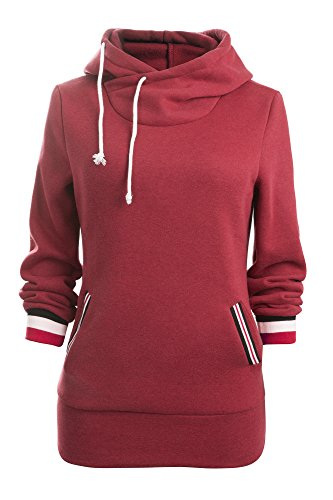YidartonAitos Aitos Kapuzenpullover Damen Hoodie Sweatshirt Top Streifen Hipster Mode Lässige Herbst Winter (Rot/XXL)