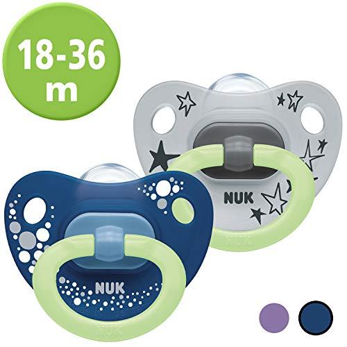 NUK Happy Nights Schnuller mit Leuchteffekt, 18-36 Monate, Silikon, 2 Stück mit Schnullerbox, Blau