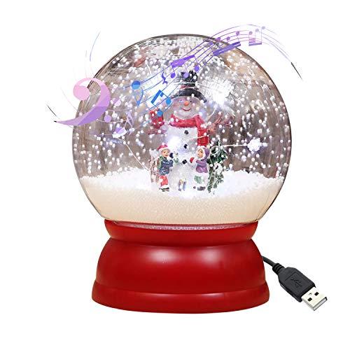 Entweg Weihnachten Musical Schneekugel beleuchtet Weihnachten Glitzernde Wasserlampe USB-Stecker Batteriebetriebene Schneemänner geformte LEDs Lichterketten mit 3 Liedern für Weihnachtsfeier