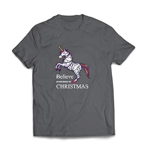 lepni.me Männer T-Shirt Glaube an die Magie von Weihnachten, Weihnachten Einhorn (XX-Large Graphit Mehrfarben)