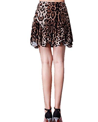 LNIGHT(エルナイト)ラテンダンス用スカート ダンススカート練習用 女性 社交ダンス ルンバ サンバ モダン パソドプレ ラテン タンゴ ワルツ専用スカート(豹柄,XL)