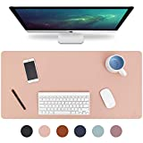 Knodel Desk Pad, Office Desk Mat, 31.5' x 15.7' PU Leather Desk Blotter, Laptop Desk Mat, Waterproof Desk Writing Pad for Office and Home, Dual-Sided (Pink)