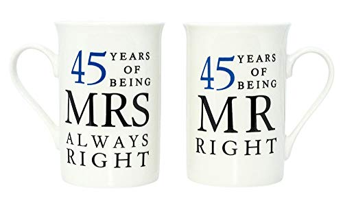 Haysoms Ivory 45th Anniversary Mr Right & Mrs Always Right Mug Gift...