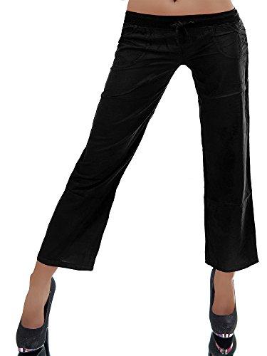 Diva-Jeans N404 Damen Chino Hose Stoffhose Sommerhose Haremshose Baggy Culotten Schlag, Farben:Schwarz, Größen:S/M