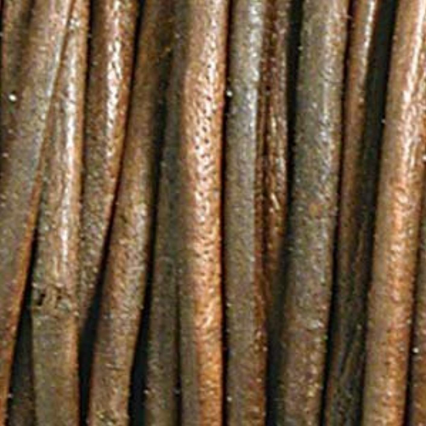 1mm Indian Leather Round Lace Beading Jewelry and Craft Cord 25 Yards Distressed Brown 1mm Thick