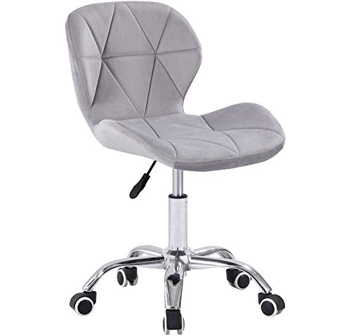 Charles Jacobs Dining/Office Swivel Chair with Chrome Legs with Wheels and Lift - Grey Velvet