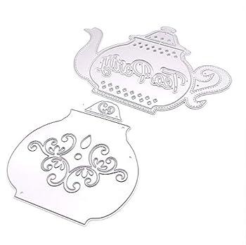 KSCRAFT Teapot Tea Cup Metal Cutting Dies Stencils for DIY Scrapbooking Decorative Embossing DIY Paper Cards