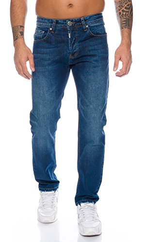 Lorenzo Loren Herren Jeans Hose Denim Jeans Used-Look Regular-Fit [LL324 - Dunkelblau - W44 L36]
